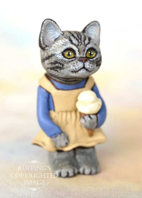 Jodie, miniature American Shorthair cat art doll, handmade original, one-of-a-kind kitten by artist Max Bailey