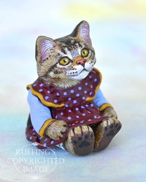Jody, miniature tabby Maine Coon cat art doll, handmade original, one-of-a-kind kitten by artist Max Bailey