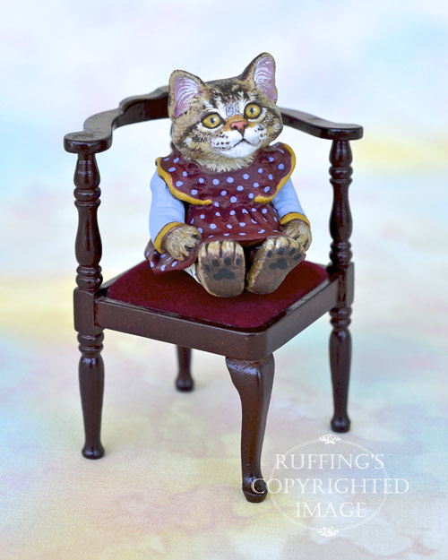 Jody, miniature tabby Maine Coon cat art doll, handmade original, one-of-a-kind kitten by artist Max Bailey