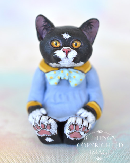Jonquil, miniature black-and-white tuxedo cat art doll, handmade original, one-of-a-kind kitten by artist Max Bailey