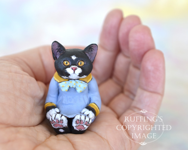 Jonquil, miniature black-and-white tuxedo cat art doll, handmade original, one-of-a-kind kitten by artist Max Bailey