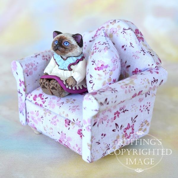 Juliette, miniature Ragdoll cat art doll, handmade original, one-of-a-kind kitten by artist Max Bailey