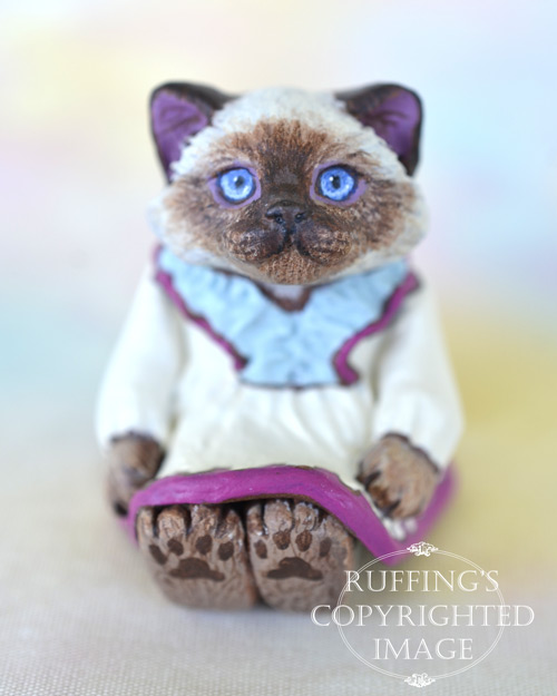 SJuliette, miniature Ragdoll cat art doll, handmade original, one-of-a-kind kitten by artist Max Bailey