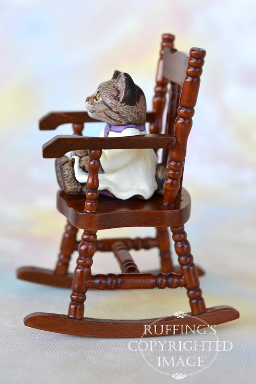 Juniper, miniature tabby cat art doll, handmade original, one-of-a-kind kitten by artist Max Bailey