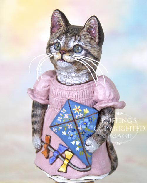 Katie the Tabby Kitten, Original One-of-a-kind Folk Art Doll Figurine by Max Bailey