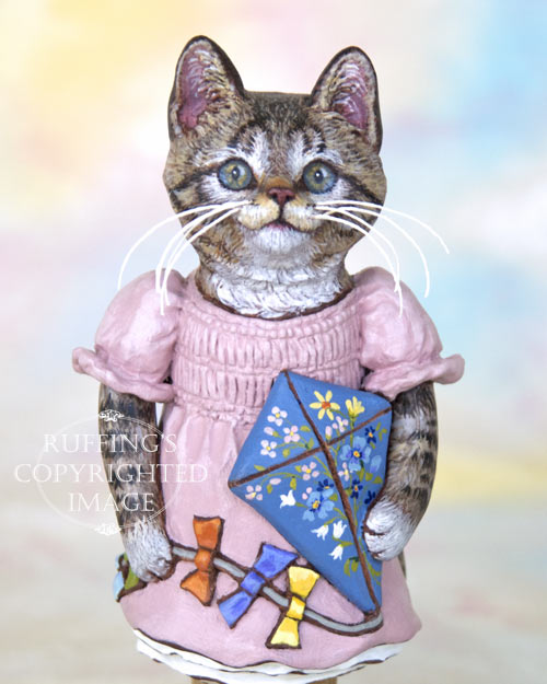 Katie the Tabby Kitten, Original One-of-a-kind Folk Art Doll Figurine by Max Bailey