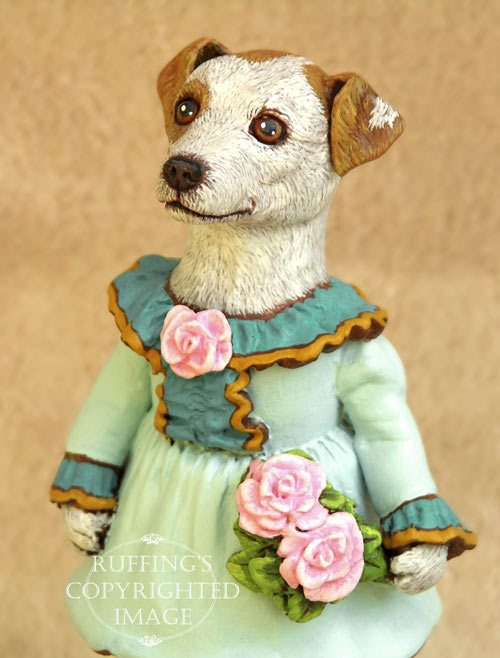 Kelly the Jack Russell Terrier, Original One-of-a-kind Folk Art Dog Doll Figurine by Max Bailey
