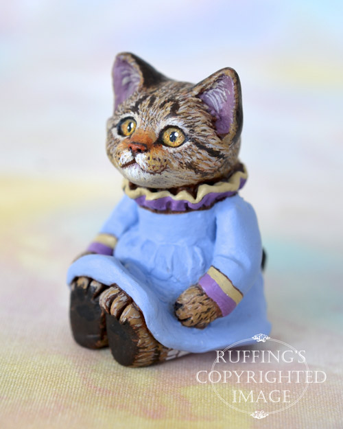 Kimberly, miniature tabby cat art doll, handmade original, one-of-a-kind kitten by artist Max Bailey