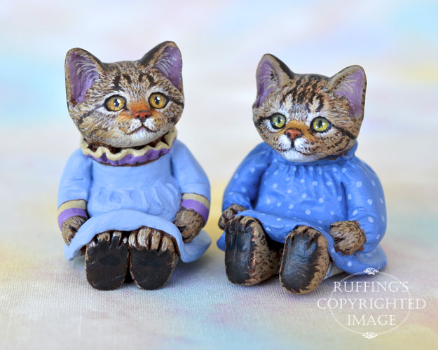 Kimberly and Fritzie, miniature tabby cat art dolls, handmade original, one-of-a-kind kitten by artist Max Bailey