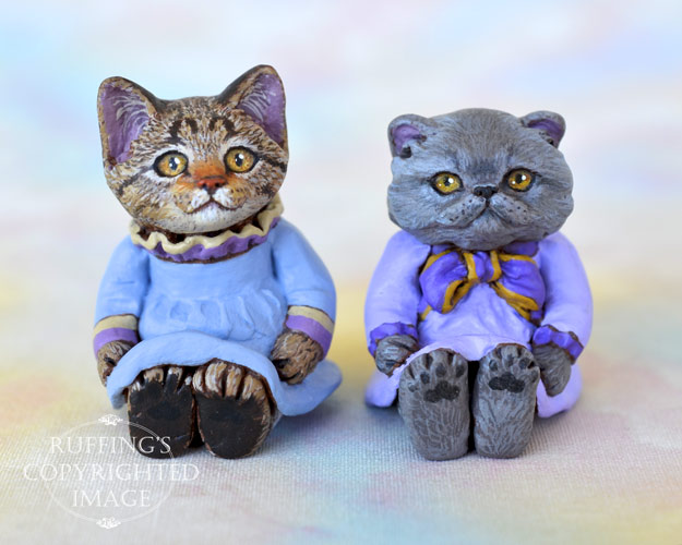 Kimberly and Heather, miniature tabby and Blue Persian cat art dolls, handmade original, one-of-a-kind kitten by artist Max Bailey
