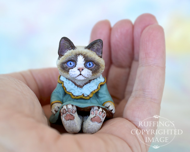 Kimmie, miniature Ragdoll cat art doll, handmade original, one-of-a-kind kitten by artist Max Bailey