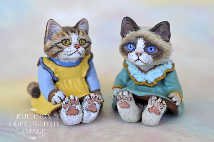 Madison and Kimmie, miniature cat art dolls handmade original, one-of-a-kind kitten by artist Max Bailey