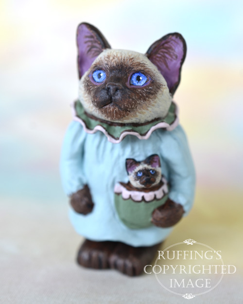 Lacey, miniature Siamese cat art doll, handmade original, one-of-a-kind kitten by artist Max Bailey