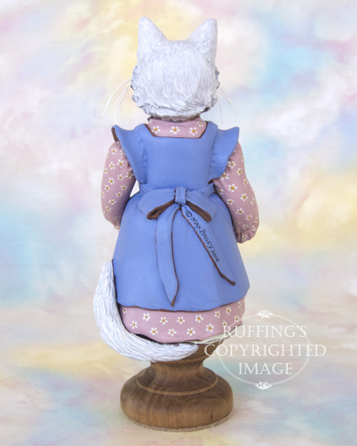 Larissa and Piper, Original One-of-a-kind Art Doll White Cat and Kitten Figurine by Max Bailey