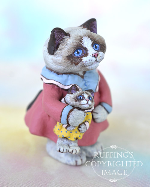 Laura and Lonnie, miniature Bi-color Ragdoll cat art doll with her own doll, handmade original, one-of-a-kind kitten by artist Max Bailey