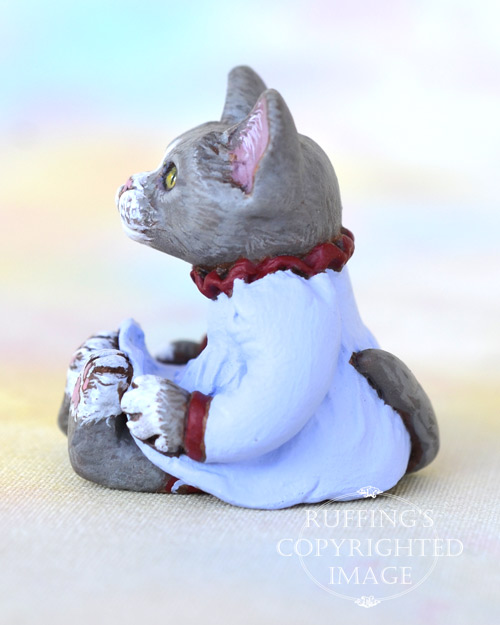 Laurel, miniature gray-and-white cat art doll, handmade original, one-of-a-kind kitten by artist Max Bailey