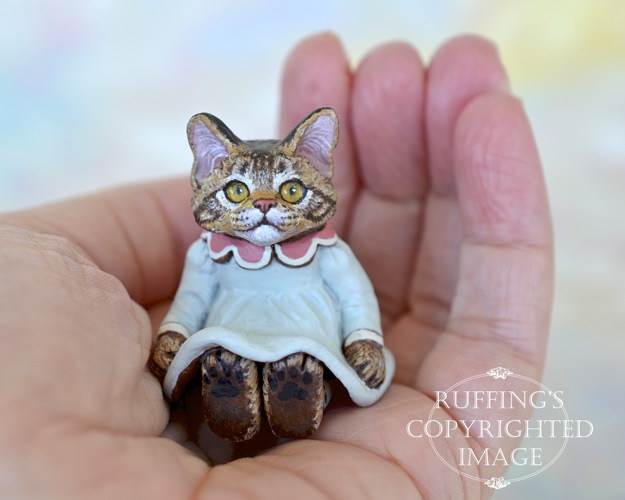 Lauren, miniature Maine Coon cat art doll, handmade original, one-of-a-kind kitten by artist Max Bailey