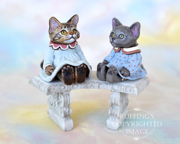 Lauren and Polly, miniature Maine Coon and Russian Blue cat art dolls, handmade original, one-of-a-kind kittens by artist Max Bailey