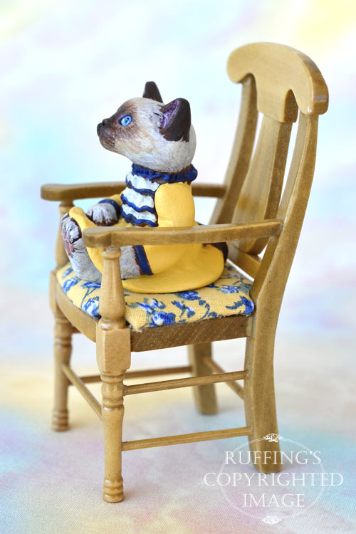 Laurie, miniature Ragdoll cat art doll, handmade original, one-of-a-kind kitten by artist Max Bailey