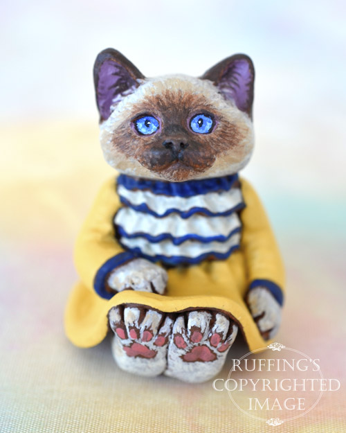 Laurie, miniature Ragdoll cat art doll, handmade original, one-of-a-kind kitten by artist Max Bailey