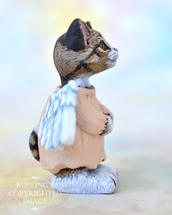 Leila, miniature Norwegian Forest angel tabby cat art doll, handmade original, one-of-a-kind kitten by artist Max Bailey