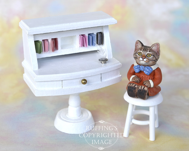 Leslie, miniature tabby cat art doll, handmade original, one-of-a-kind kitten by artist Max Bailey