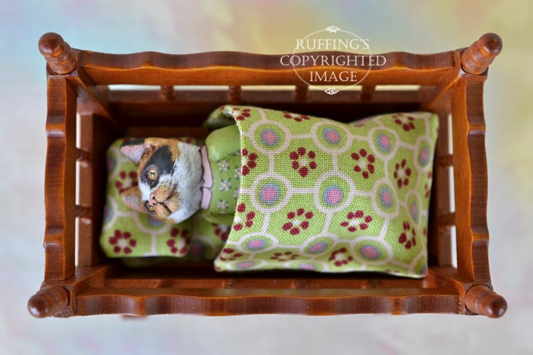 Libby, Original One-of-a-kind Dollhouse-sized Calico Kitten Art Doll by Max Bailey