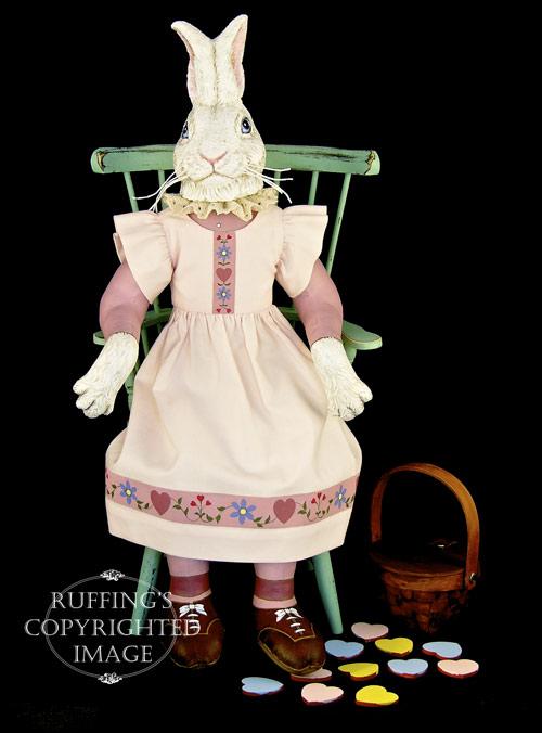 Lila Lovebunny, Original One-of-a-kind Bunny Rabbit Folk Art Doll by Max Bailey