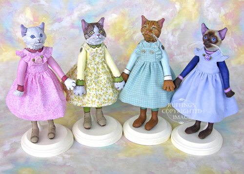 Lillie, Edith, Eloise, and Cleo, Original One-of-a-kind  Cat Art Dolls by Max Bailey