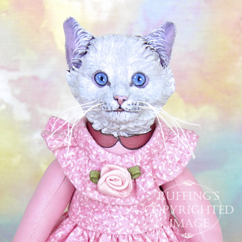 Lillie the White Cat, Original One-of-a-kind Folk Art Cat Doll by Max Bailey