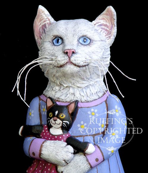 Lily and Caroline, Original One-of-a-kind Folk Art Cat Doll Figurine by Max Bailey
