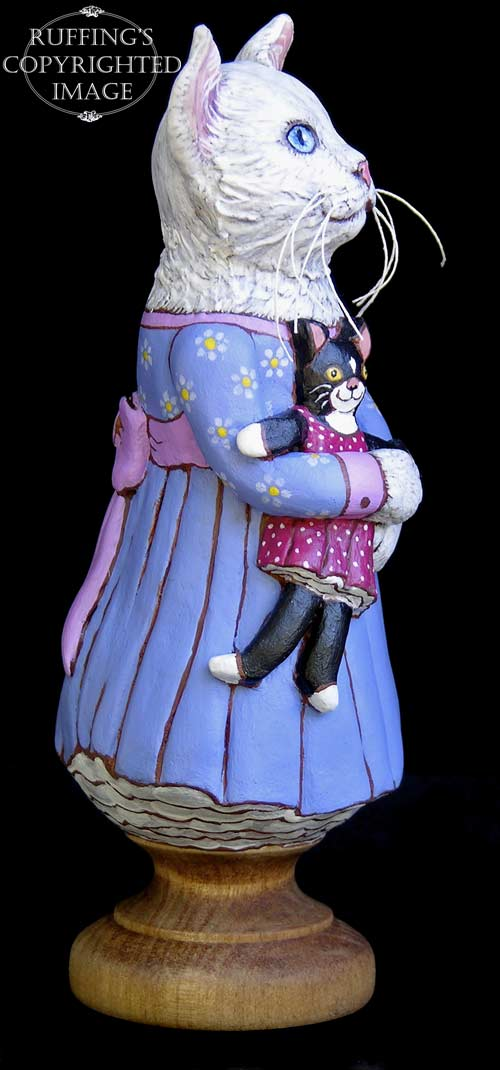 Lily and Caroline, Original One-of-a-kind White Cat and Tuxedo Kitten Folk Art Doll Figurine by Max Bailey