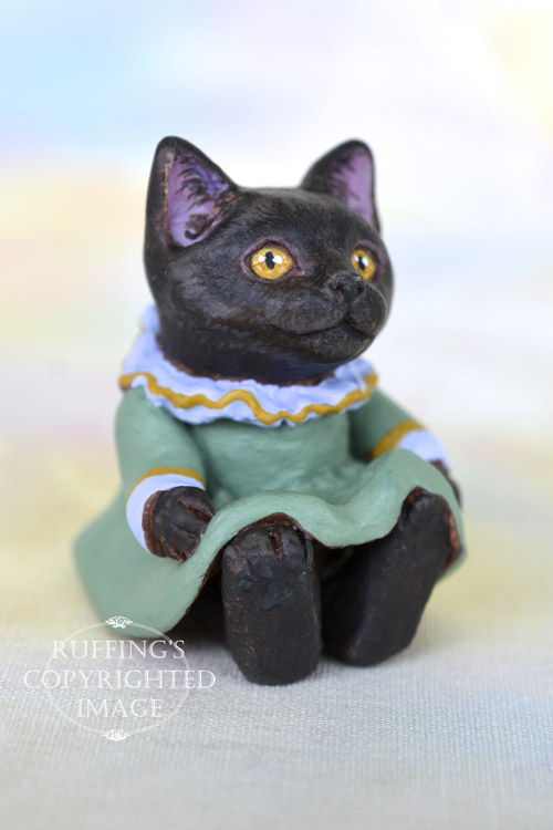 Lola, Original One-of-a-kind Dollhouse-sized Black Kitten by Max Bailey