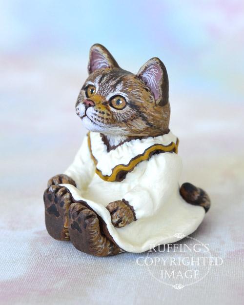 Lorelei, miniature Maine Coon cat art doll, handmade original, one-of-a-kind kitten by artist Max Bailey