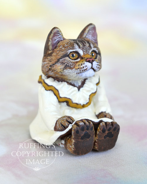 Lorelei, miniature Maine Coon cat art doll, handmade original, one-of-a-kind kitten by artist Max Bailey