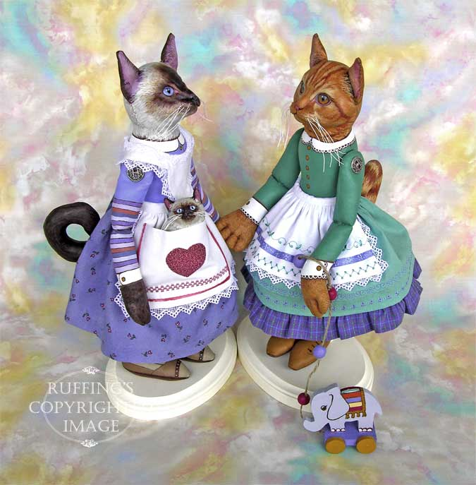 Loretta and Lulu, Emily and Edwin, Original One-of-a-kind Folk Art Cat and Kitten Dolls by Max Bailey and Elizabeth Ruffing