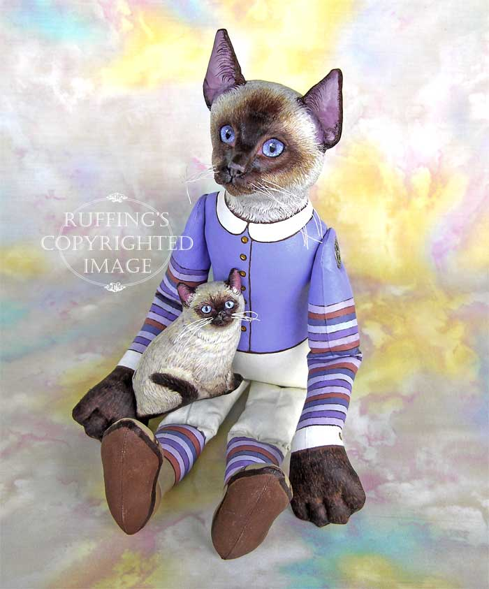 Loretta and Lulu, Original One-of-a-kind Folk Art Siamese Cat and Kitten Dolls by Max Bailey and Elizabeth Ruffing