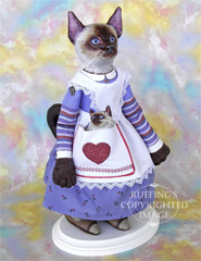 Loretta and Lulu the Siamese Original One-of-a-kind Folk Art Cat and Kitten Dolls by Max Bailey and Elizabeth Ruffing