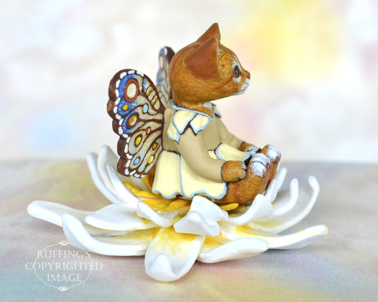 Lotus, miniature ginger tabby fairy cat art doll, handmade original, one-of-a-kind kitten by artist Max Bailey
