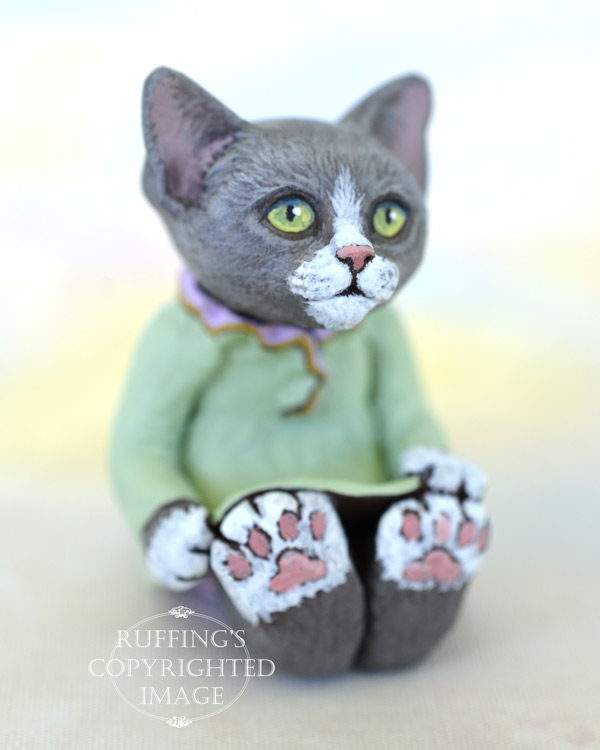 Louellen, miniature gray-and-white cat art doll, handmade original, one-of-a-kind kitten by artist Max Bailey