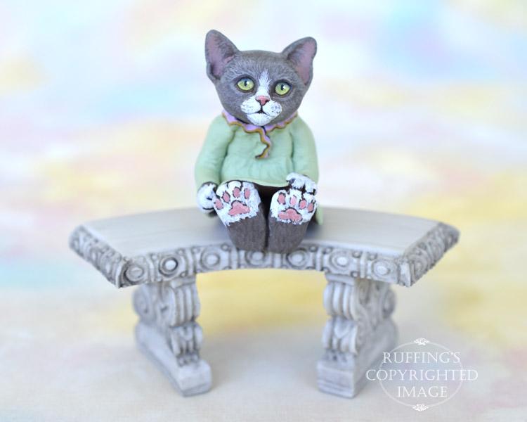 Louellen, miniature gray-and-white cat art doll, handmade original, one-of-a-kind kitten by artist Max Bailey