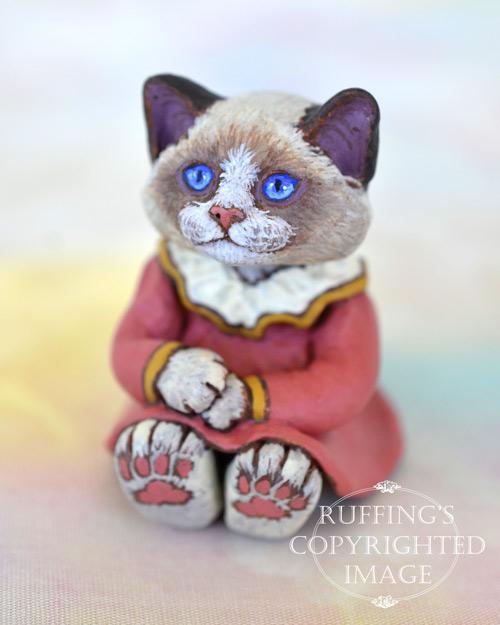 JLouellen, miniature bi-color Ragdoll cat art doll, handmade original, one-of-a-kind kitten by artist Max Bailey