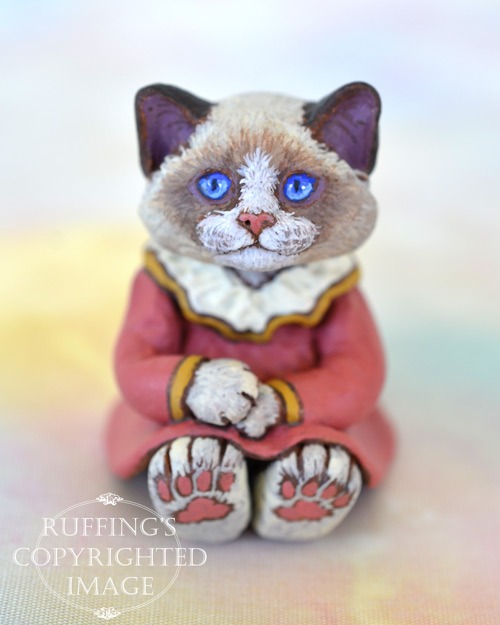Louellen, miniature bi-color Ragdoll cat art doll, handmade original, one-of-a-kind kitten by artist Max Bailey