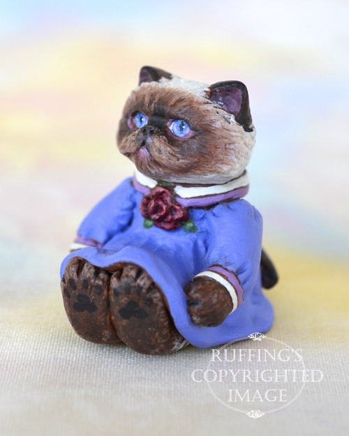 Louisa, miniature Himalayan cat art doll, handmade original, one-of-a-kind kitten by artist Max Bailey