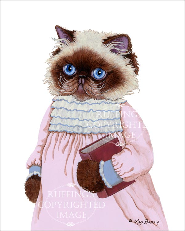 Louisa the Himalayan Kitten, anthropomorphic cat art print by Max Bailey, Ruffing's