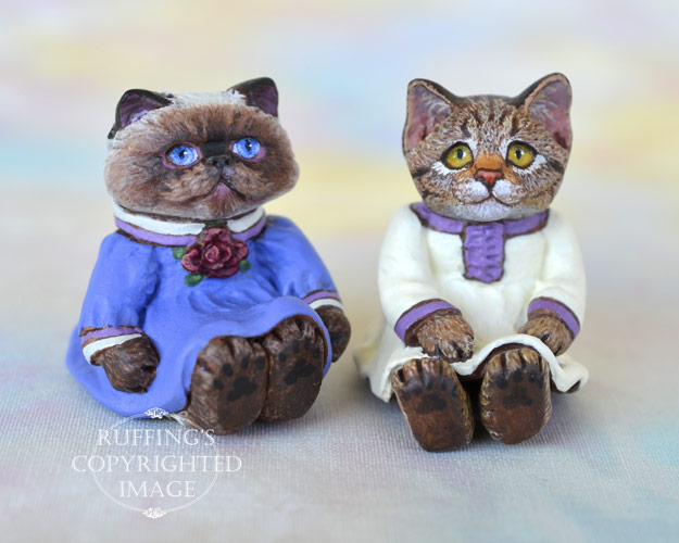 Louisa and Juniper, miniature Himalayan and tabby cat art dolls, handmade original, one-of-a-kind kitten by artist Max Bailey