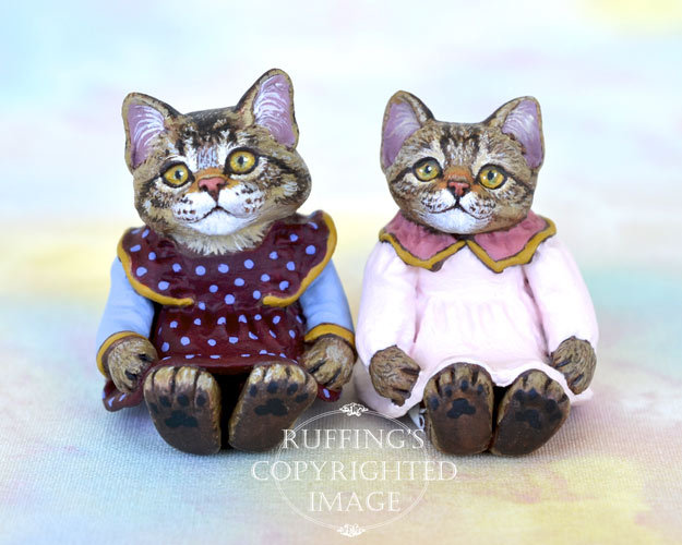 Jody and Lovey, miniature Maine Coon and tabby cat art dolls, handmade original, one-of-a-kind kitten by artist Max Bailey