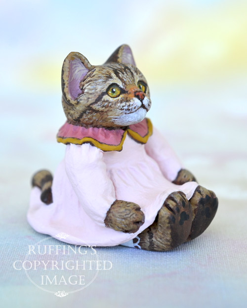 Lovey, miniature tabby cat art doll, handmade original, one-of-a-kind kitten by artist Max Bailey