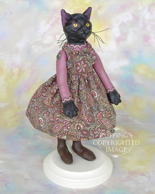 Lucinda, Original One-of-a-kind Black Cat Art Doll by Max Bailey