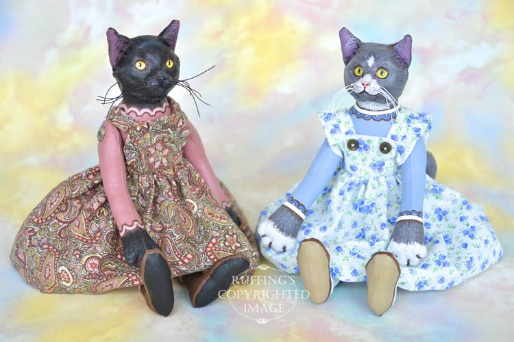 Lucinda and Ida, Original One-of-a-kind Black and Gray-and-white Cat Art Doll by Max Bailey
